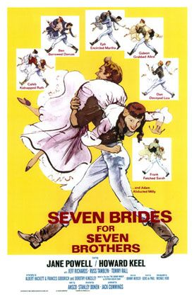 Seven Brides for Seven Brothers - poster with all the women slung over the men's shoulders